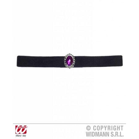 Nekband fluweel zwart met paarse steen
