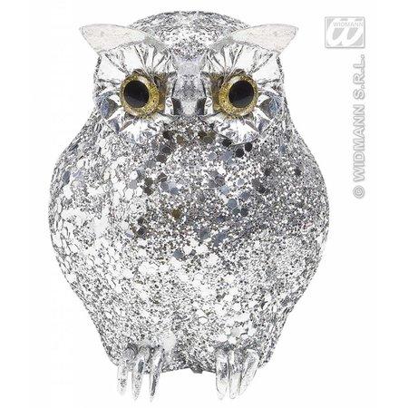 Glitter uil zilver 10,5cm