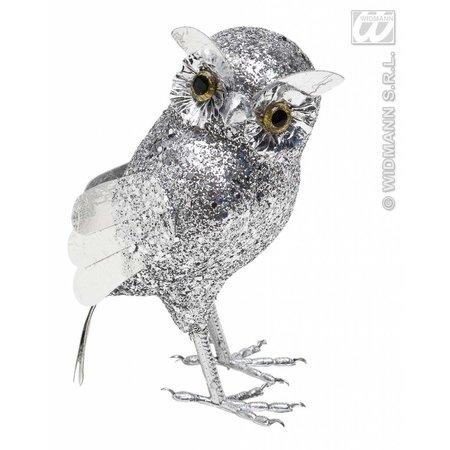 Glitter uil zilver 18,5cm