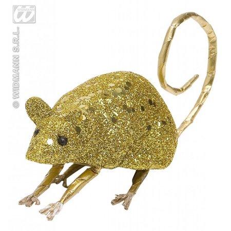Glitter muis goud 8,5cm