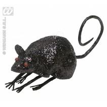 Glitter muis zwart 8,5cm