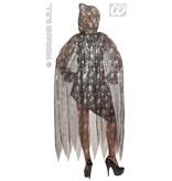 Doorzichtige cape spinneweb met kap 136cm