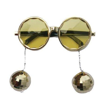 Bril met gouden disco ballen