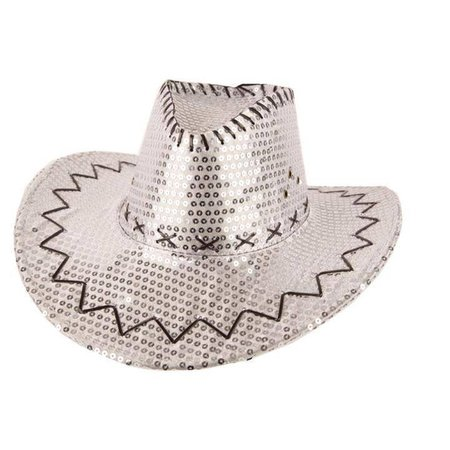 Hoed Cowboy Sequin Zilver