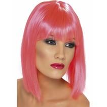 Pruik Glam Neon pink