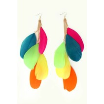 Oorringen veren multi colour rainbow