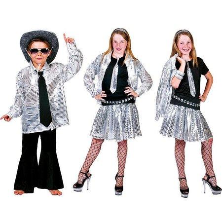 Blouse disco zilver kind