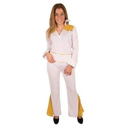 Disco Kostuum Wit Met Goud Dames