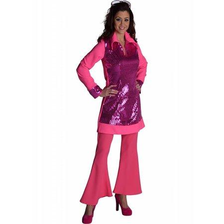 Roze hippiebroek vrouw