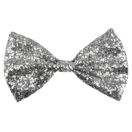 Vlinderstrik glitter zilver