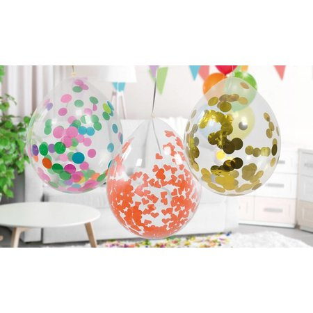 Confetti ballon met gouden confetti - 4 stuks