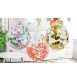 Ballon met zilverkleurige confetti - 4 stuks