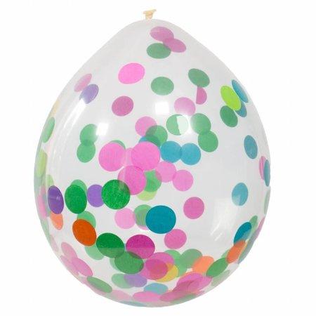 Confetti ballon met multikleur confetti - 4 stuks