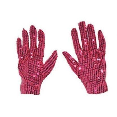 Handschoenen fuchsia pailletten
