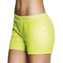 Hotpants pailletten neon geel