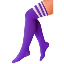Cheerleader kousen paars/wit
