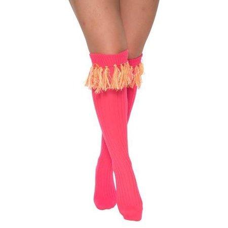Sokken over-knee pink met neon kwastjes