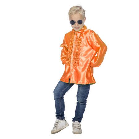 Ruches blouse satijn oranje kind