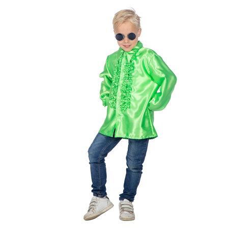 Ruches blouse neon groen kind