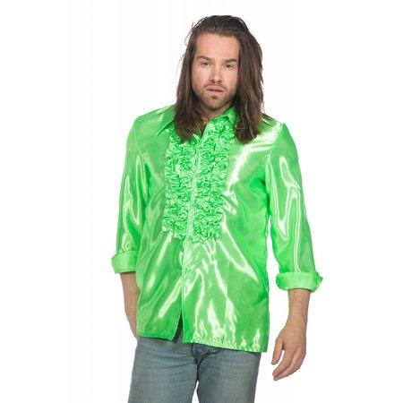 Ruchesblouse satijn neon groen