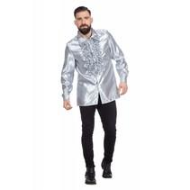 Ruchesblouse satijn zilver