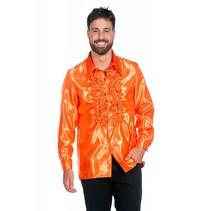 Ruchesblouse neon oranje
