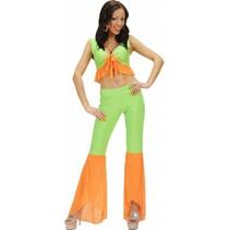 Groen-oranje samba top en broek