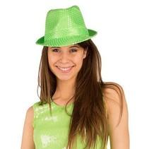 Disco Party hoed pailletten neon groen