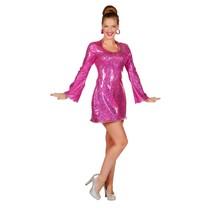 Holografisch disco jurkje pink