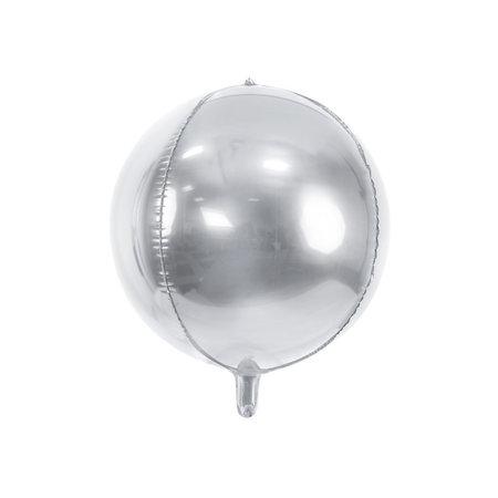 Folie Ballon Bal Metallic Zilver 40cm