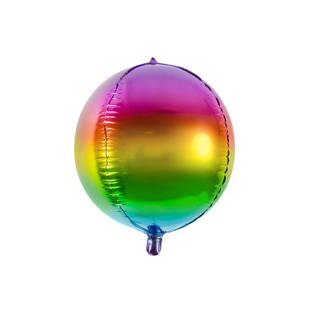 Folie Ballon Bal Metallic Regenboog 40cm