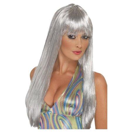 Disco Pruik Zilver Glitter