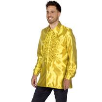 Ruchesblouse satijn geel