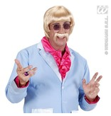 Pruik met snor en bril 60's blond