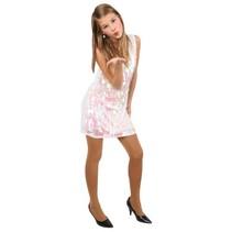 Pailletten jurk pijpjes metallic wit
