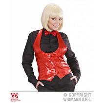 Dames paillettenvest rood