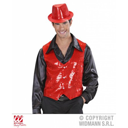 Paillettenvest rood man