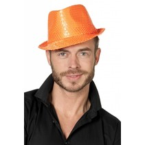 Gangsterhoed pailletten neon oranje