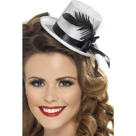 Mini hoge hoed zilver