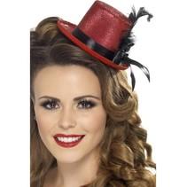 Mini hoge hoed rood
