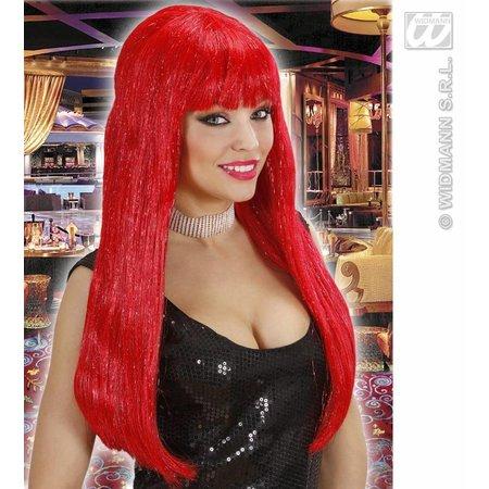 Glamour pruik glitzy rood