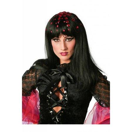 Disco queen pruik zwart met steentjes