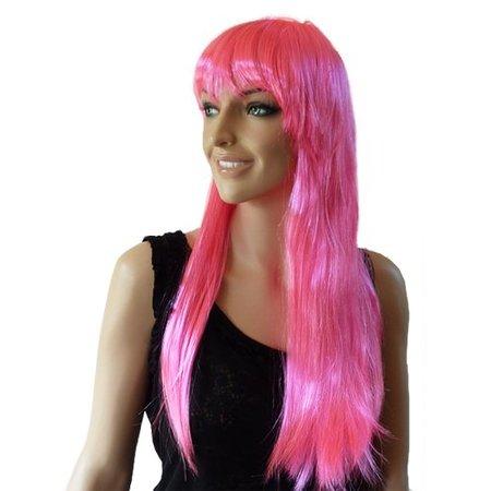 Pruik lang roze Esmee