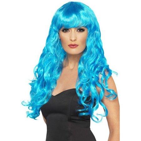 Pruik Siren lang haar blauw