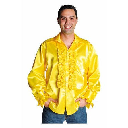 Rouches blouse man luxe geel