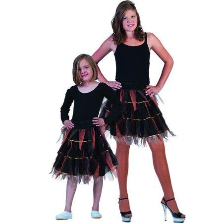 Petticoat zwart / oranje goud gestreept kind