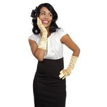Handschoenen elleboog lang goud