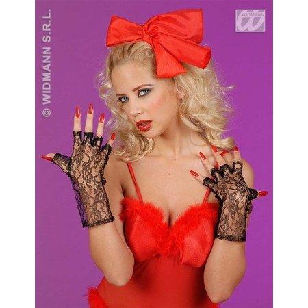 Zwarte vingerloze handschoenen 25cm