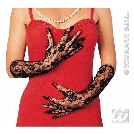 Kanten handschoen zwart lang