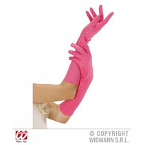 Handschoenen lang neon roze